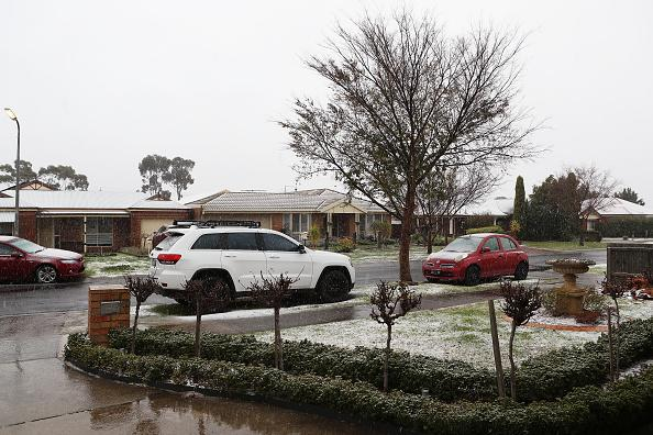 Snow on the streets of suburban Sunbury in Victoria on Tuesday.