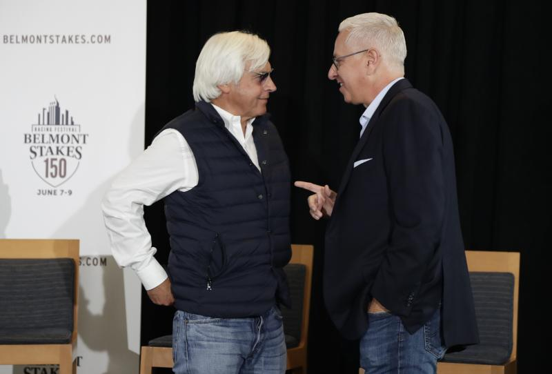 Bob Baffert, left, the trainer for Justify, speaks to Todd Pletcher after the draw for Saturday's Belmont Stakes horse race, Tuesday, June 5, 2018, in New York. (AP Photo/Frank Franklin II)