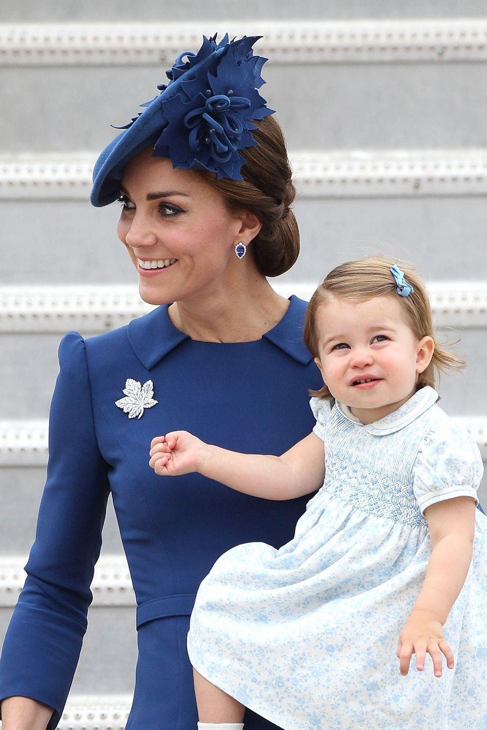 <p>The Duchess of Cambridge and Princess Charlotte arrive at the Victoria Airport in Canada as part of an eight-day royal visit to the country.</p>
