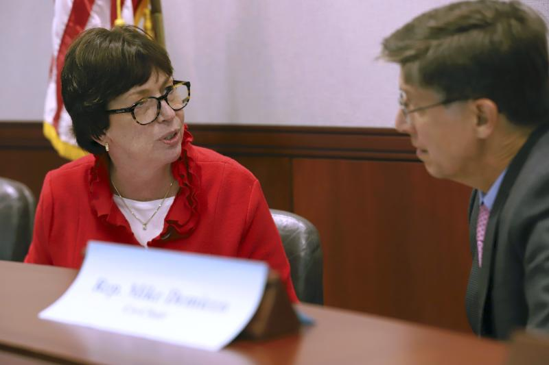 In this Oct. 10, 2019, photo, Patricia Rehmer, left, Hartford HealthCare Behavioral Health Network president, talks with state Rep. Mike Demicco, D-Farmington, at the Legislative Office Building in Hartford, Conn. Rehmer said new rules related to patient suicide are restricting patient dignity and freedom. (AP Photo/Chris Ehrmann)