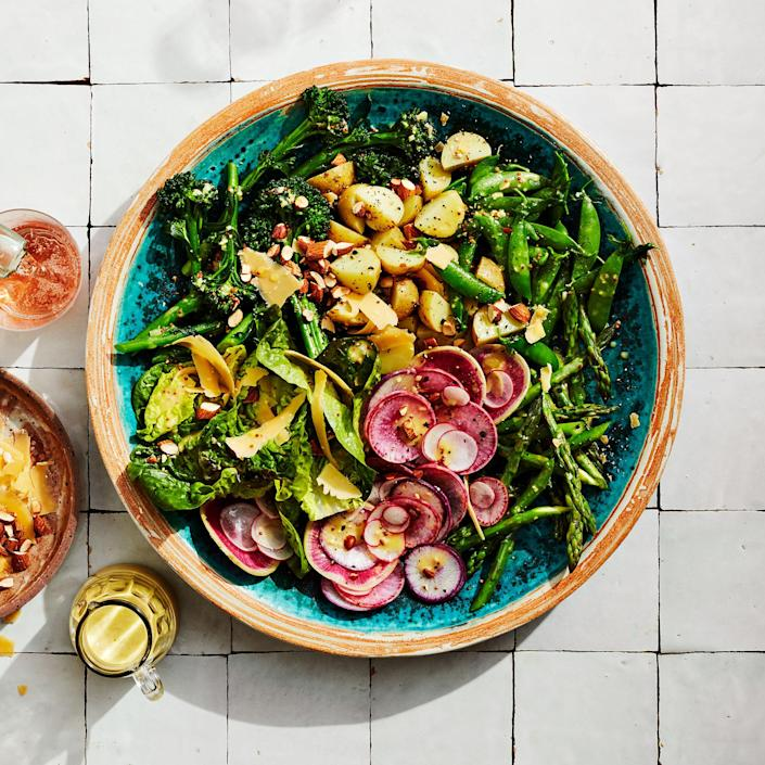 <p>This is a salad where the vegetables really shine and the lettuce plays a supporting role. It requires a bit of work up front to blanch all the veg, but the results are impressive.</p>