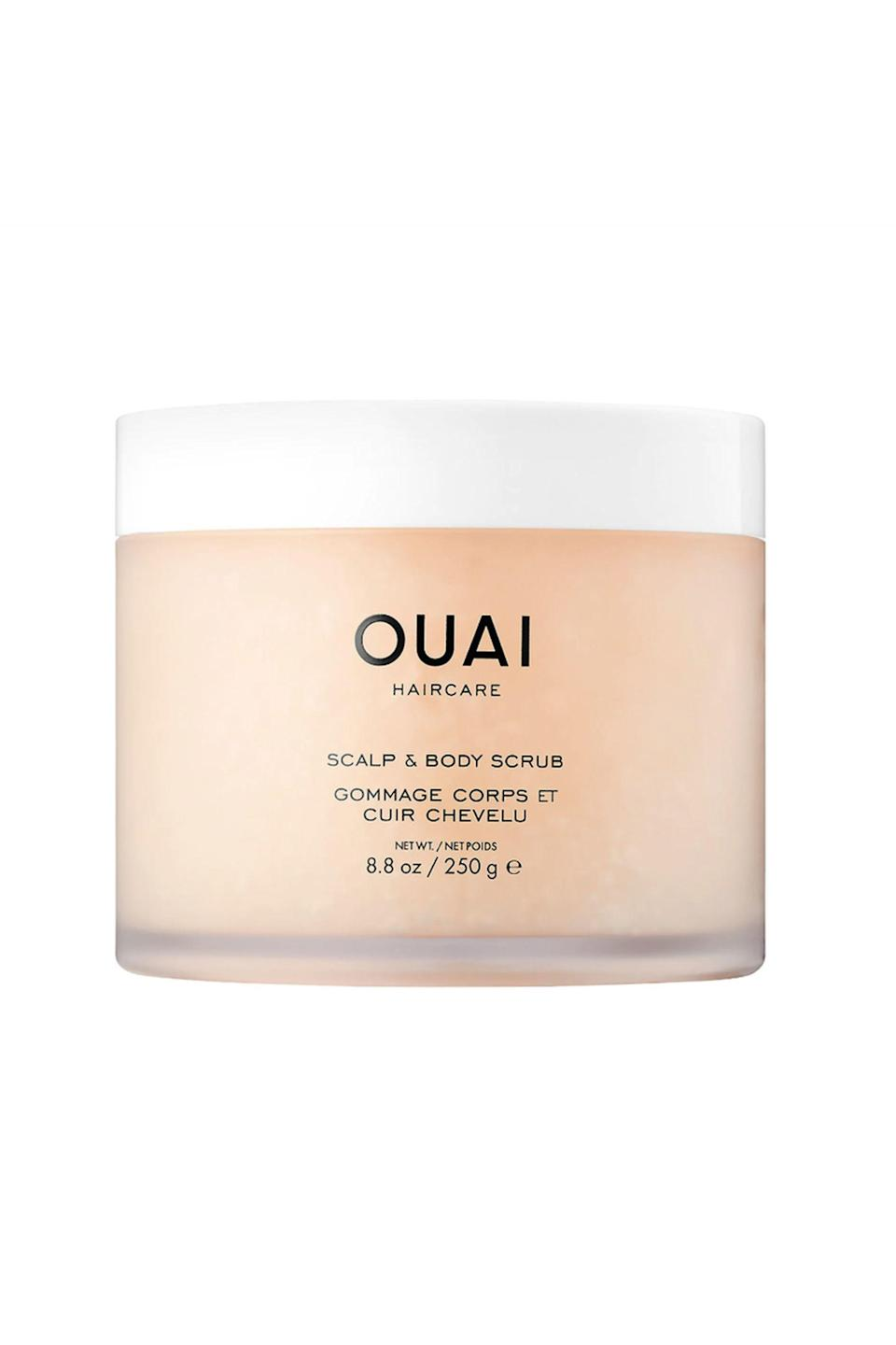 """<p><strong>OUAI</strong></p><p>sephora.com</p><p><strong>$38.00</strong></p><p><a href=""""https://go.redirectingat.com?id=74968X1596630&url=https%3A%2F%2Fwww.sephora.com%2Fproduct%2Fscalp-body-scrub-P434221&sref=https%3A%2F%2Fwww.cosmopolitan.com%2Fstyle-beauty%2Fbeauty%2Fg26114920%2Fbest-scalp-scrubs%2F"""" rel=""""nofollow noopener"""" target=""""_blank"""" data-ylk=""""slk:Shop Now"""" class=""""link rapid-noclick-resp"""">Shop Now</a></p><p><a href=""""https://www.cosmopolitan.com/style-beauty/beauty/g28829338/best-shampoo-for-fine-hair/"""" rel=""""nofollow noopener"""" target=""""_blank"""" data-ylk=""""slk:Fine hair"""" class=""""link rapid-noclick-resp"""">Fine hair</a> compiles product buildup more quickly than other textures, so you want to <strong>opt for a scalp scrub with grittier exfoliants,</strong> like this sugar-based one. It's filled with coconut oil to ease dryness and also has a slight lather that helps you massage it through your roots. The biggest bonus? You can use it on your body, too.<br></p>"""