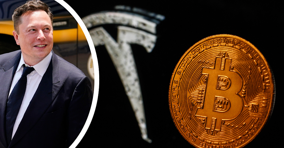 Elon Musk smiles as he walks on the street. The Tesla logo i the background and a Bitcoin in the foreground on a black backdrop.