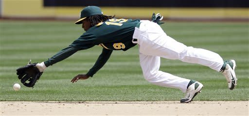 A ground ball by Kansas City Royals' Alex Gordon gets by Oakland Athletics second baseman Jemile Weeks for a single during the third inning of a baseball game Wednesday, April 11, 2012, in Oakland, Calif. (AP Photo/Marcio Jose Sanchez)