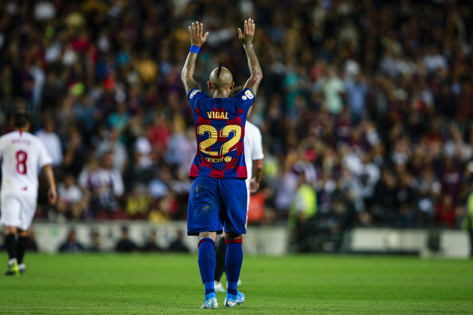 22 Arturo Vidal from Chile of FC Barcelona celebrating his goal during the La Liga match between FC Barcelona and Sevilla FC in Camp Nou Stadium in Barcelona 06 of October of 2019, Spain.  (Photo by Xavier Bonilla/NurPhoto via Getty Images)