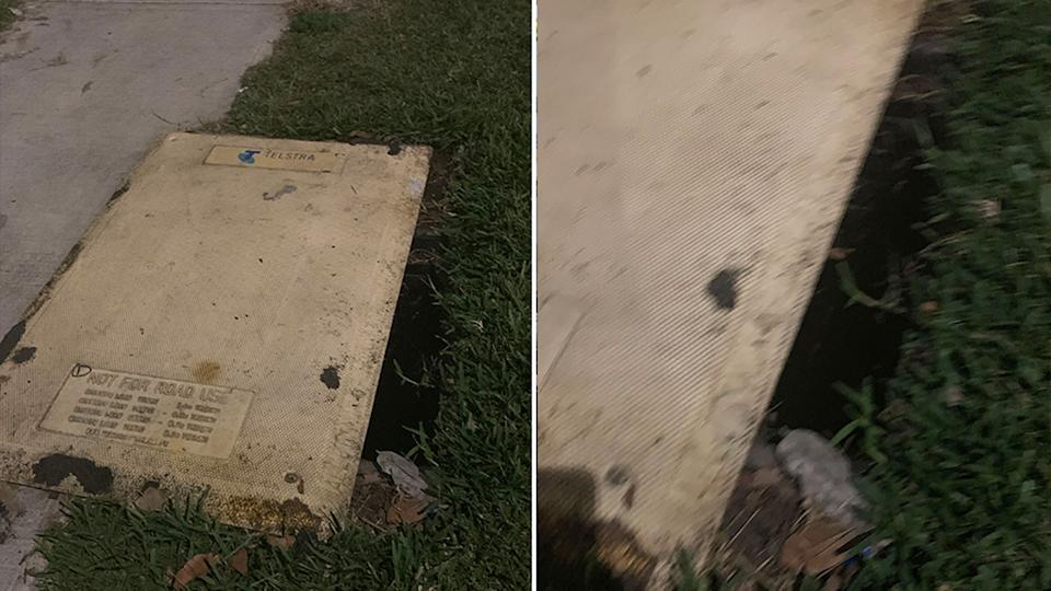 A hole next to a Telstra pit cover in West Ryde. Source: Supplied