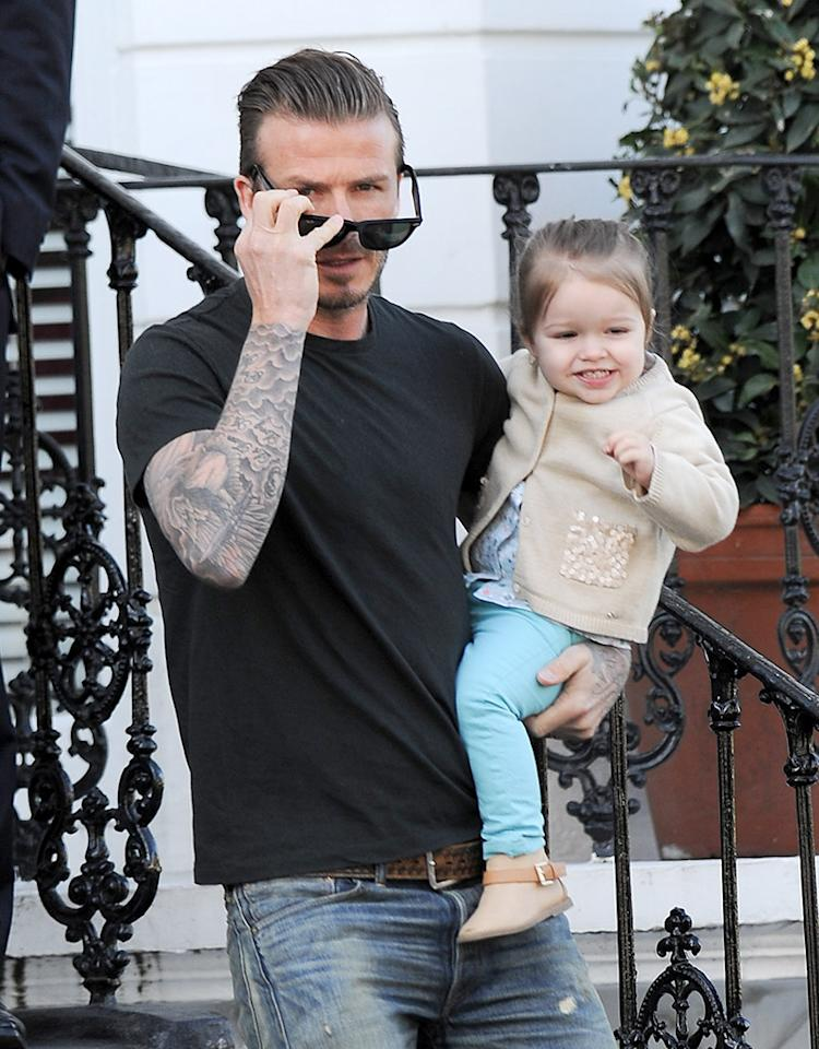 David and Harper Beckham are seen out in Kensington, UK.