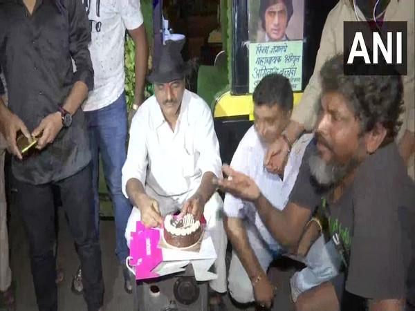 Fans outside Amitabh Bachchan's residence celebrating actor's 79th Birthday. (Photo/ANI)