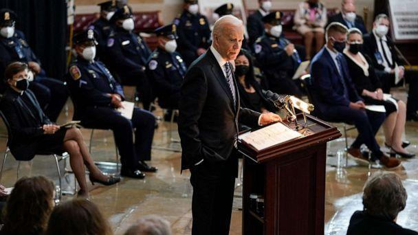 PHOTO: President Joe Biden speaks during a ceremony to honor slain Capitol Police Officer William 'Billy' Evans as he lies in honor at the Capitol in Washington, DC, April 13, 2021. (J. Scott Applewhite/AFP via Getty Images)