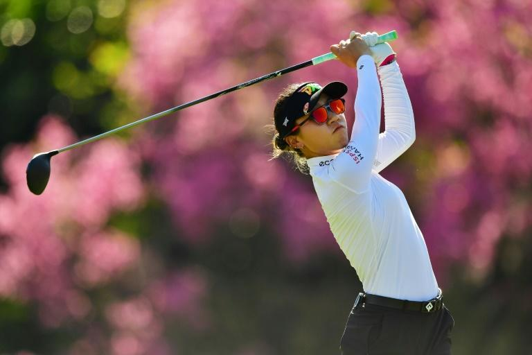 New Zealand's Lydia Ko on the way to a second-round 69 and a one-shot halfway lead in the Gainbridge LPGA