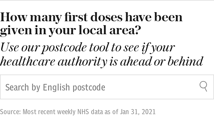 How many first doses have been given in your local area?