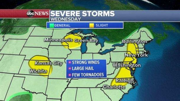 PHOTO: Severe weather is possible in Kansas, Wisconsin and along the East Coast on Wednesday. (ABC News)