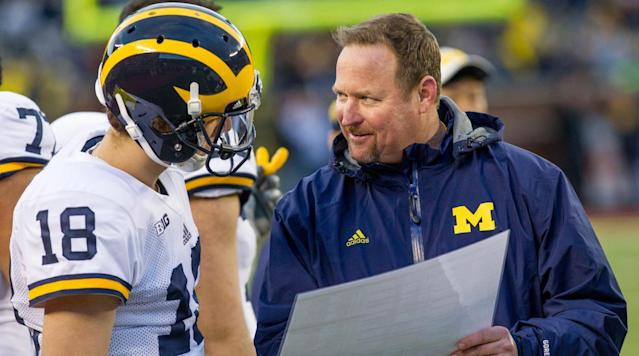 """<p>Michigan offensive coordinator Tim Drevno is stepping down after three years with the team, <a href=""""https://twitter.com/BruceFeldmanCFB/status/967074944835231745"""" rel=""""nofollow noopener"""" target=""""_blank"""" data-ylk=""""slk:sources"""" class=""""link rapid-noclick-resp"""">sources</a> told <em>Sports Illustrated's</em> Bruce Feldman. The news was first <a href=""""http://thewolverinelounge.com/2018/02/tim-drevno-resigns-from-michigan-football/"""" rel=""""nofollow noopener"""" target=""""_blank"""" data-ylk=""""slk:reported"""" class=""""link rapid-noclick-resp"""">reported</a> by The Wolverine Lounge.</p><p>Drevno has been in Ann Arbor since 2015, arriving with coach Jim Harbaugh. He coached under Harbaugh from 2011-13 as the offensive line coach of the San Francisco 49ers before going to USC for a season as the run game coordinator and offensive line coach. Drevno also served as the offensive line caoch at Michigan.</p><p>Sources <a href=""""https://twitter.com/BruceFeldmanCFB/status/967075722639458306"""" rel=""""nofollow noopener"""" target=""""_blank"""" data-ylk=""""slk:told"""" class=""""link rapid-noclick-resp"""">told</a> Feldman that Ed Warinner, a former offensive line coach at Minnesota and Ohio State who was hired by the Wolverines as an analyst, is expected to take over the offensive line.</p><p>Michigan climbed toward the top of the Big Ten in scoring in Drevno's first two years, and in 2016 the team averaged 40.3 points, the 11th best mark in the nation and top mark in the conference. Additionally, 10 of the starters earned all-conference recognition while the team racked up the fifth most points in program history.</p><p>After averaging 35.8 points in his first two seasons, the Michigan offense fell off in 2017, averaging just 25.2 points, which was tied for eighth in the Big Ten with Purdue. However, senior quarterback Wilton Speight missed most of the season with injury, forcing the team to rely on backup John O'Korn.</p>"""