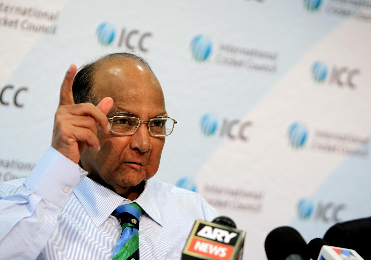 Sharad Pawar, President of the International Cricket Council (ICC), gestures during a press conference following the ICC board meeting in Dubai on October 13, 2010. AFP PHOTO/KARIM SAHIB (Photo credit should read KARIM SAHIB/AFP/Getty Images)