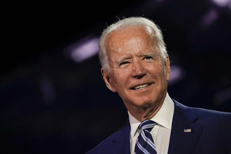 Former Vice President Joe Biden, Democratic presidential nominee, stands on stage during the Democratic National Convention at the Chase Center in Wilmington, Delaware, U.S., on Wednesday, Aug. 19, 2020. (Stefani Reynolds/Bloomberg via Getty Images)