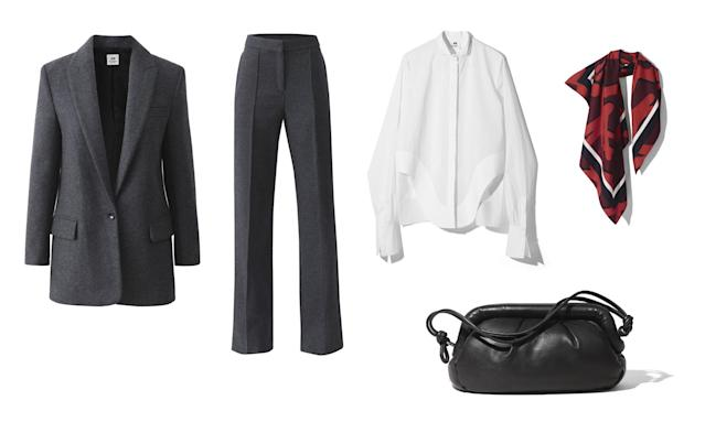 <p><i>Update your fall workwear with a classic heather grey suit from H&M. Pair it with a crisp white oxford shirt, a colorful graphic scarf, and a leather bag. (Photo courtesy of H&M) </i></p>