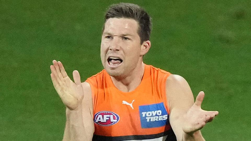 Pictured here, Toby Greene reacts during GWS' finals wins against the Sydney Swans.