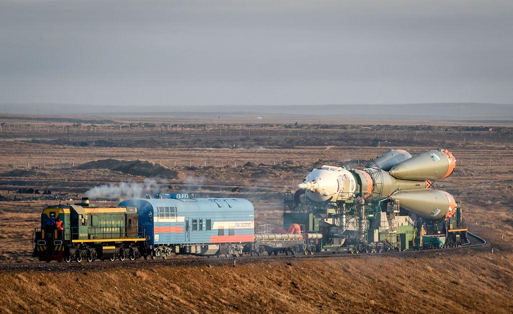 <p>The Soyuz MS-08 spacecraft is transported to the launch pad at the Russian-leased Baikonur cosmodrome in Kazakhstan. The launch of the Soyuz MS-08 with the members of the International Space Station (ISS) expedition 55/56, NASA astronauts Andrew Feustel, Richard Arnold and Roscosmos cosmonaut Oleg Artemyev is scheduled for March 21 from the Russian-leased Kazakh Baikonur cosmodrome. (Vyacheslav Oseledko/AFP/Getty Images) </p>