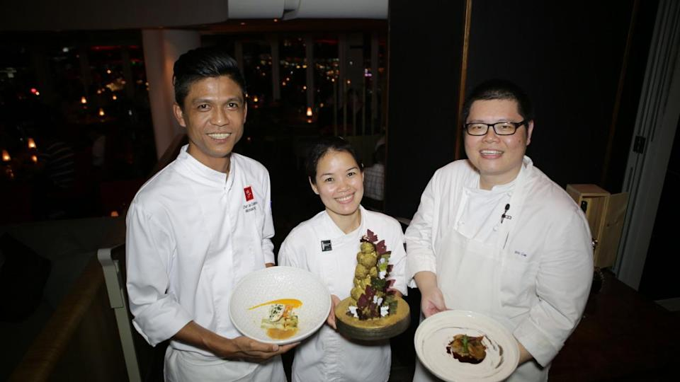 Meet the chefs behind the 18-course dinner: Michael Ng (35), Ariane Jimenez (35) and Eric Lim (44).