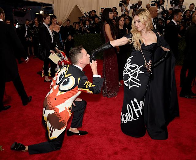 "Jeremy Scott and Madonna attend the ""China: Through The Looking Glass"" Costume Institute Benefit Gala at the Metropolitan Museum of Art on May 4, 2015, in New York City. (Photo: Dimitrios Kambouris/Getty Images)"