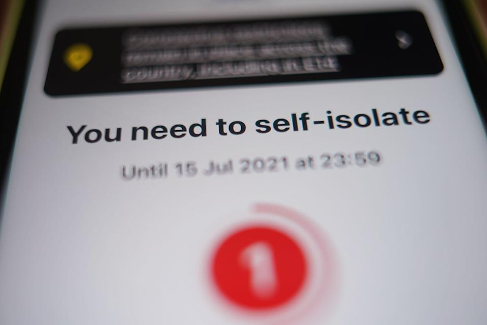 Downing Street has insisted it is 'crucial' for people to self-isolate after receiving an alert from the NHS Covid-19 app (Yui Mok/PA) (PA Wire)