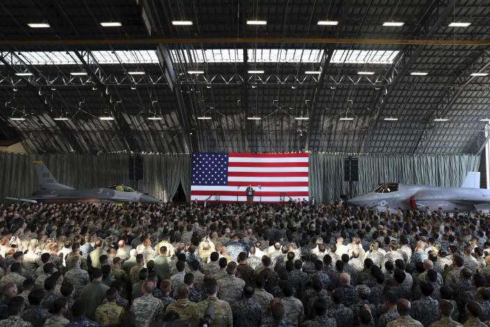 <p>President Donald Trump delivers his speech to the U.S. military personnel and members of Japan Defense Forces upon his arrival at the U.S. Yokota Air Base on the outskirts of Tokyo, Sunday, Nov. 5, 2017. (Photo: Eugene Hoshiko/AP) </p>
