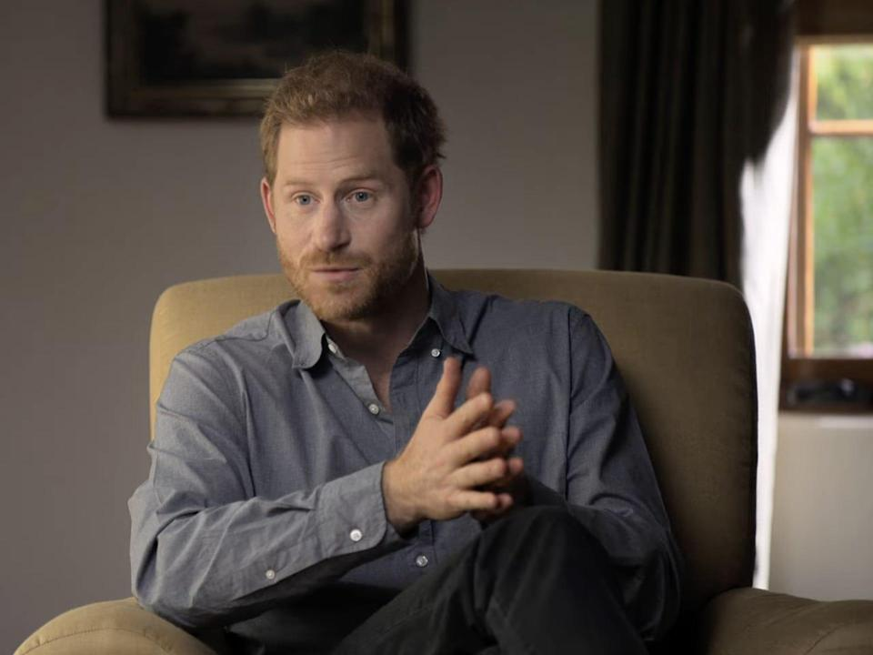 Prince Harry speaks with Oprah in a scene from 'The Me You Can't See'