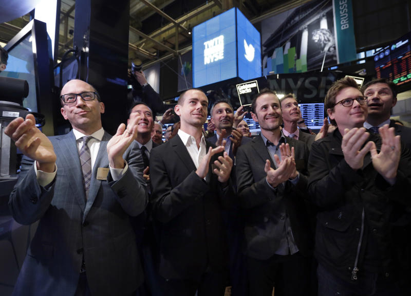 Twitter CEO Dick Costolo, Chairman and co-founder Jack Dorsey, and co-founders Evan Williams and Biz Stone, front row left to right, applaud as they watch the the New York Stock Exchange opening bell rung, Thursday, Nov. 7, 2013. If Twitter's bankers and executives were hoping for a surge on the day of the stock's public debut, they got it. The stock opened at $45.10 a share on its first day of trading, 73 percent above its initial offering price. (AP Photo/Richard Drew)