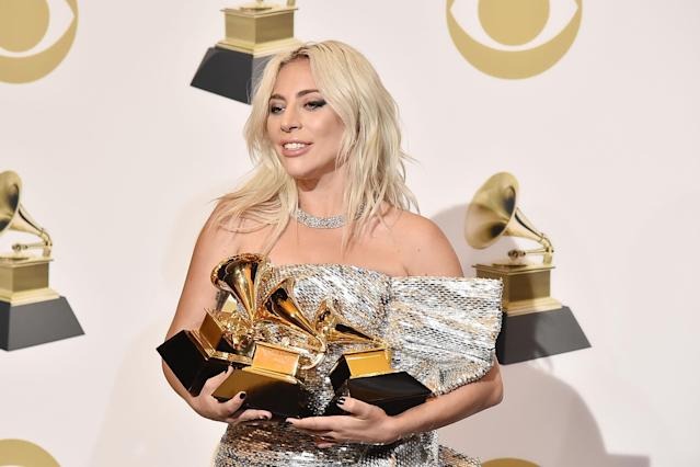 Lady Gaga attends the 61st Annual Grammy Awards - Press Room at Staples Center on February 10, 2019 in Los Angeles, California. (Photo by David Crotty/Patrick McMullan via Getty Images)
