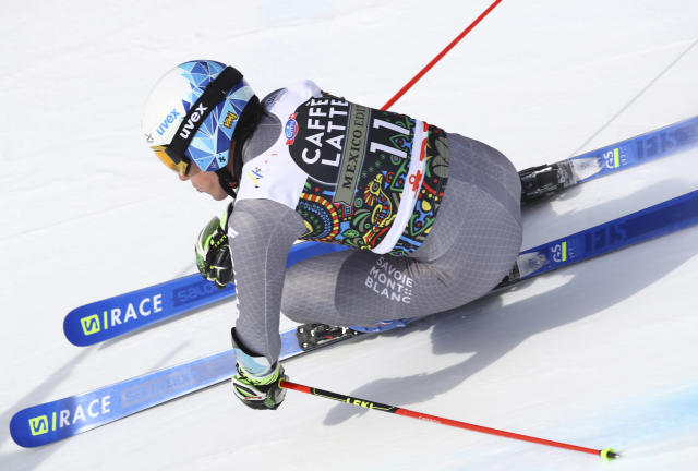 France's Victor Muffat-Jeandet competes during a men's giant slalom at the alpine ski World Cup finals in Are, Sweden, Saturday, March 17, 2018. (AP Photo/Alessandro Trovati)