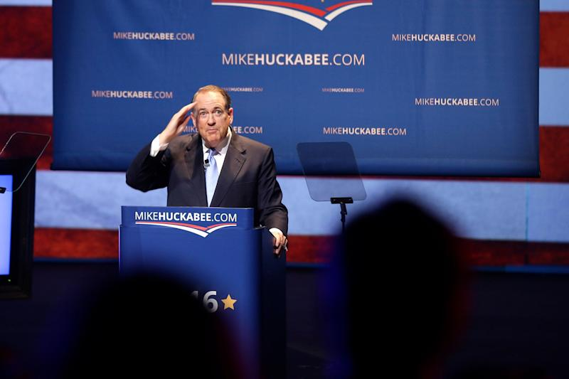 """Huckabee announced he was <a href=""""http://www.huffingtonpost.com/entry/mike-huckabee-2016_us_560bf437e4b0768126fff8de"""">suspending his campaign</a> on Feb. 1, 2016."""