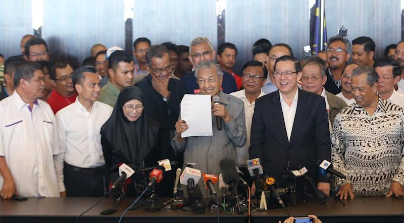 File picture shows Tun Dr Mahathir Mohamad at a news conference following Pakatan's win at the 14th general election, in Petaling Jaya May 10, 2018. — Picture by Razak Ghazali