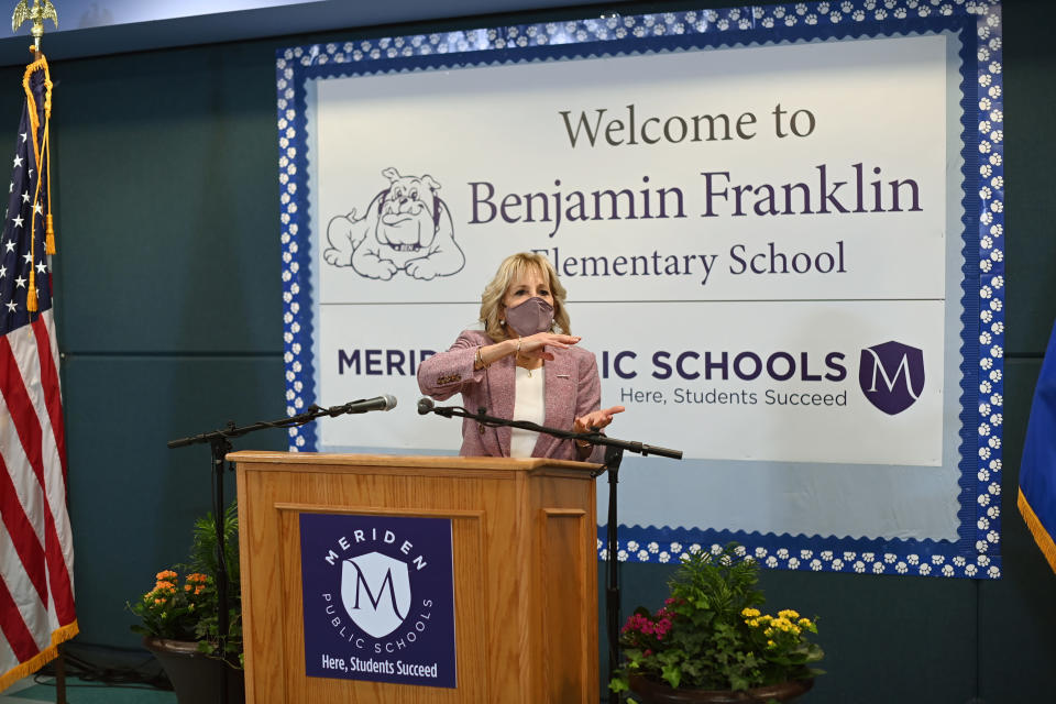 First lady Jill Biden speaks during a tour at Benjamin Franklin Elementary School in Meriden, Conn., on Wednesday, March 3, 2021. Mandel Ngan, Pool via AP)