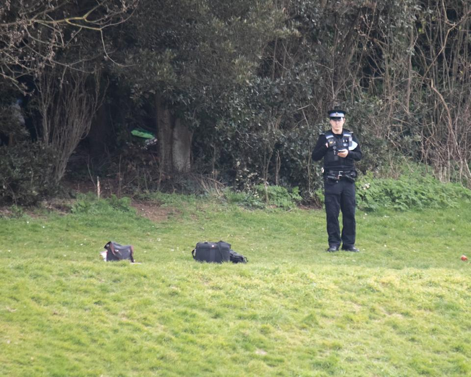 Police were at the scene in Portslade, East Sussex, where a body was found on Sunday. (SWNS)