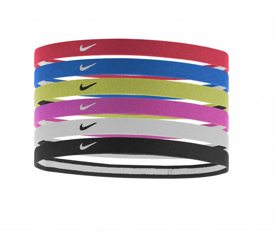 """<p><strong>Nike</strong></p><p>dickssportinggoods.com</p><p><strong>$10.00</strong></p><p><a href=""""https://go.redirectingat.com?id=74968X1596630&url=https%3A%2F%2Fwww.dickssportinggoods.com%2Fp%2Fnike-womens-swoosh-sport-headbands-6-pack-16nikwswshsprthdbsprx%2F16nikwswshsprthdbsprx&sref=https%3A%2F%2Fwww.seventeen.com%2Fbeauty%2Fhair%2Fg28542058%2Fbest-workout-headbands%2F"""" rel=""""nofollow noopener"""" target=""""_blank"""" data-ylk=""""slk:Shop Now"""" class=""""link rapid-noclick-resp"""">Shop Now</a></p><p>These tiny bands have a cult following all their own. Of the 50 five-star reviews, most report that they're great for taming flyaways and that <strong>t</strong><strong>he rubber strip keeps them snug</strong> throughout your entire workout. And thanks to the super cheap price tag, you're only paying $1.66 per band. </p>"""