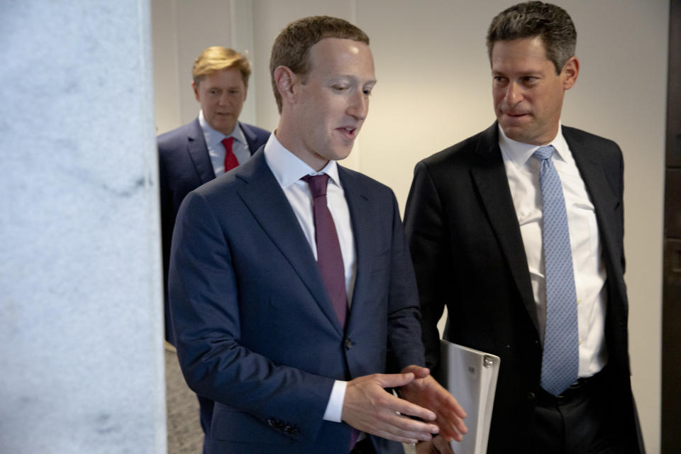 WASHINGTON, DC - SEPTEMBER 19: Facebook founder and CEO Mark Zuckerberg (L) and Facebook's Vice President of Global Public Policy, Joel Kaplan (R) chat after leaving a meeting with Senator John Cornyn (R-TX) in his office on Capitol Hill on September 19, 2019 in Washington, DC. Zuckerberg is making the rounds with various lawmakers in Washington today. (Photo by Samuel Corum/Getty Images)