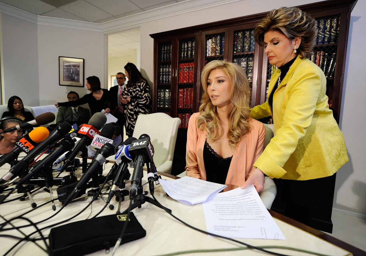 LOS ANGELES, CA - APRIL 03:  Jena Talackova (2nd R), a would be Miss Universe contestant, arrives for a news conference with her attorney Gloria Allred on April 3, 2012 in Los Angeles, California, 23, was disqualified as a finalist from the upcoming Miss Universe Canada last month because she was born male. The Miss Universe Organization reversed their decision April 2, 2012, allowing a transgender contestant to compete as long as they meet the legal Canadian gender recognition requirements and standards that are established by other competitions held internationally.  (Photo by Kevork Djansezian/Getty Images)