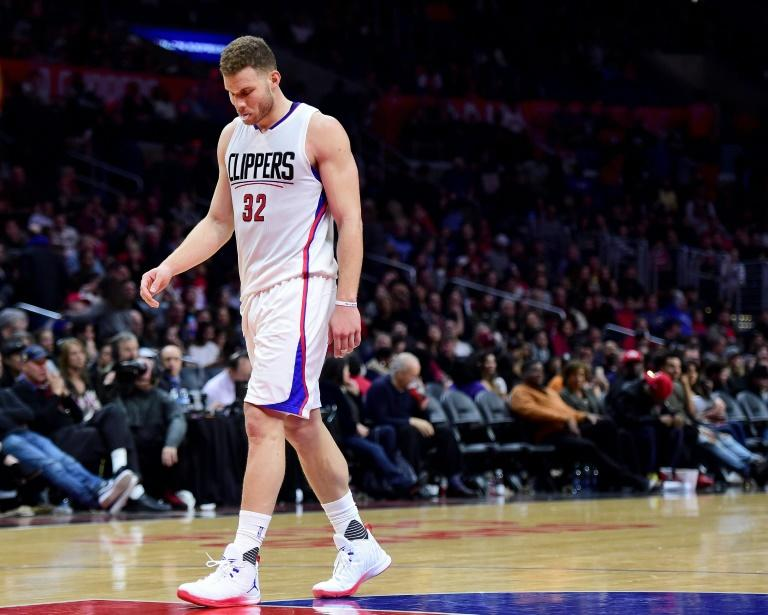 Blake Griffin, pictured here on February 24, 2017,  injured the plantar plate on the bottom of the toe in the first half of the Clippers' 111-106 victory over the host Utah Jazz