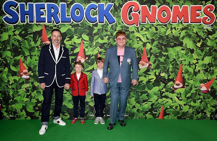 David Furnish and Elton John with sons Elijah and Zachary in 2018. (Getty Images for Paramount Pictures)