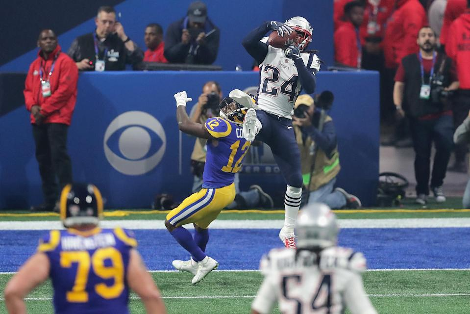 Stephon Gilmore picked off Jared Goff for a critical turnover late in the fourth quarter. (Getty Images)