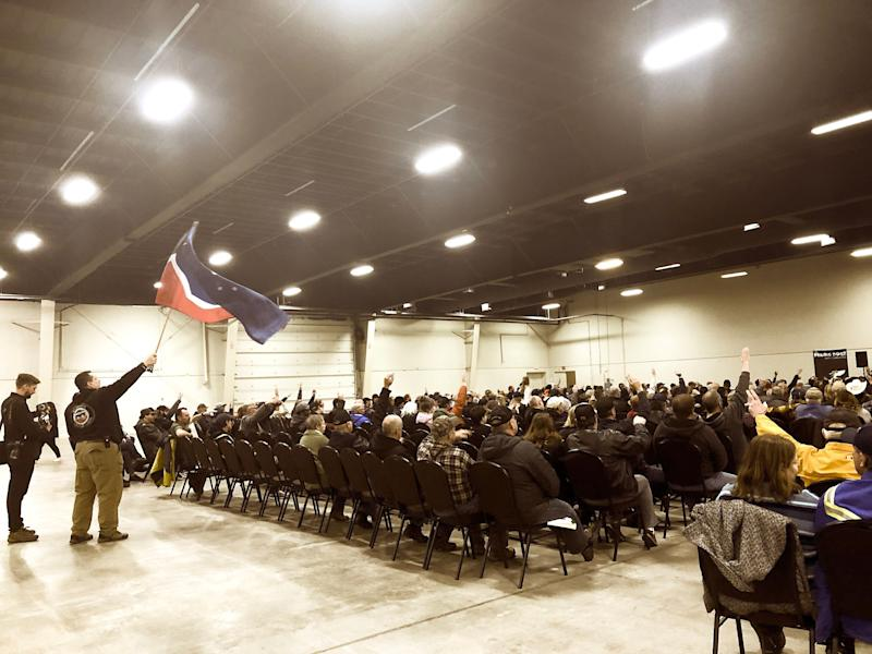 """The crowd at a """"Wexit"""" rally in Red Deer, Alta. on Nov. 30, 2019. (Photo: Melanie Woods/HuffPost Canada)"""