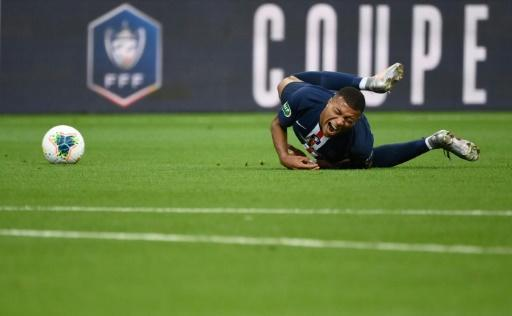 Kylian Mbappe was forced off in the first half after he was chopped down by Loic Perrin