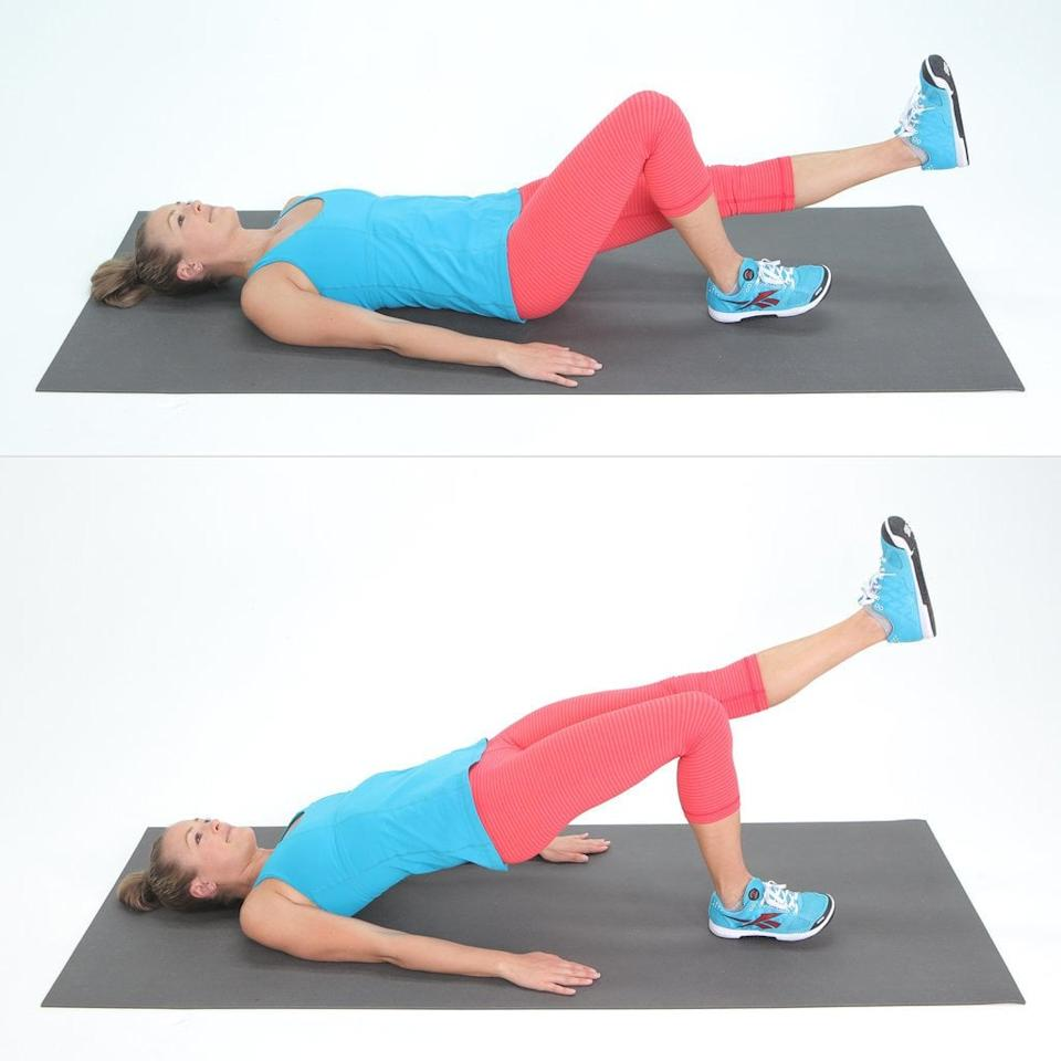 <ul> <li>Place a band just above your knees. Lie on your back with your arms at your sides, your knees bent, and your feet shoulder-width apart, resting approximately 12 inches from your glutes.</li> <li>Lift one leg off the ground and extend it out straight, keeping your thighs level.</li> <li>Engage your glutes and press your heel into the ground, driving your hips and butt upward to form a bridge with your body. Squeeze your glutes and hold for a two count.</li> <li>Lower back down to the ground, keeping your lifted leg extended. Once you finish the set, switch legs and repeat.</li> <li>Complete eight reps on each side; 16 reps in total.</li> </ul>