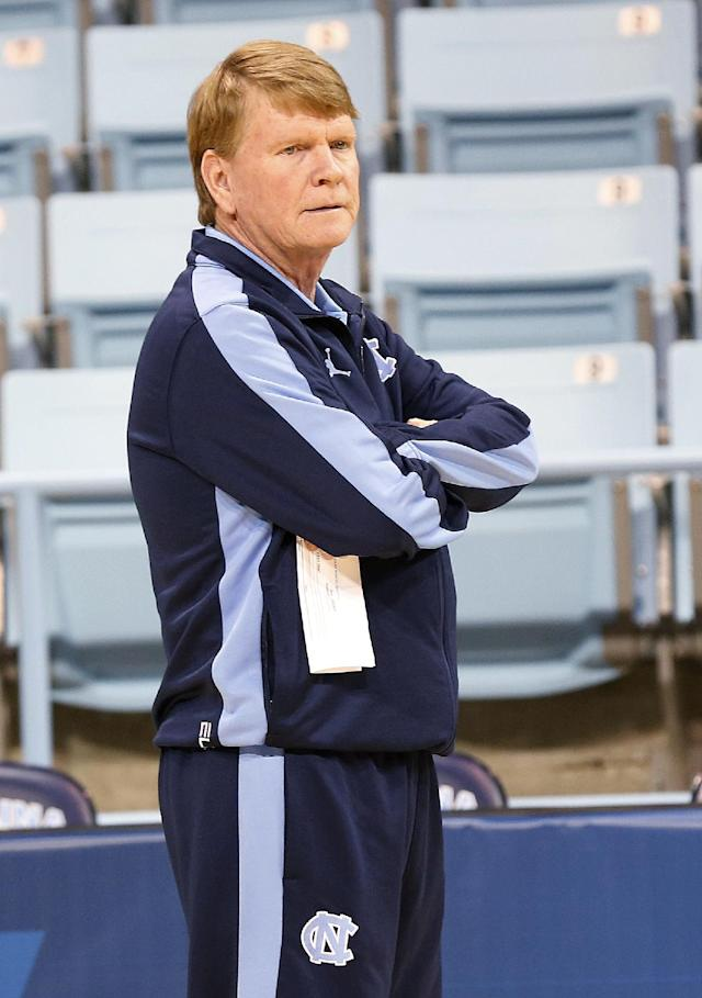 North Carolina Associate Head Coach Andrew Calder watches his team during practice for the NCAA women's college basketball tournament in Chapel Hill, N.C., March 22, 2014. North Carolina plays UT-Martin in a first-round game on Sunday. (AP Photo/Ellen Ozier)