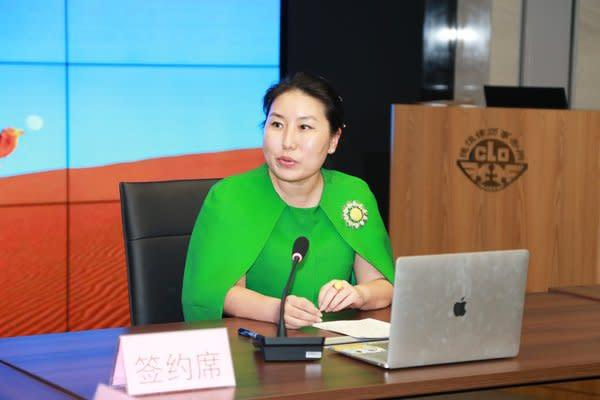 Bank of Asia President Lisa Lou delivers a speech