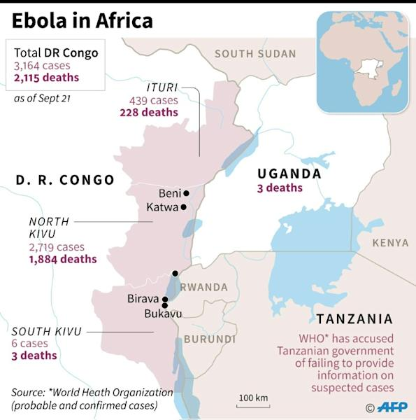 Map showing Ebola cases and deaths in DR Congo and neighbouring Uganda