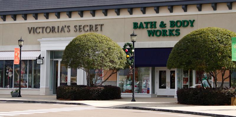 A Victoria's Secret store and a Bath & Body Works store, both part of the Limited Brands corporation, are open and waiting for customers. (AP Photo/Rogelio V. Solis)