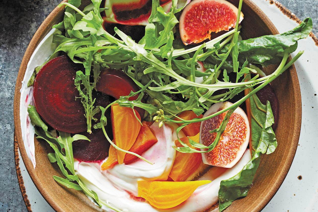 "Set roasted, jewel-toned beets and fresh figs over creamy, tart labneh and scatter with honeyed pecans for an autumn salad that's both fresh and comforting. <a rel=""nofollow"" href=""https://www.epicurious.com/recipes/food/views/beet-and-fig-salad-with-candied-pecans?mbid=synd_yahoo_rss"">See recipe.</a>"