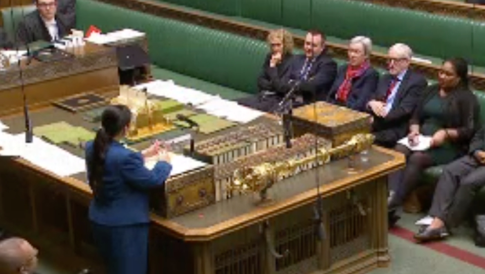 Patel and Corbyn clashed in the Commons on Monday (Parliamentlive.tv)