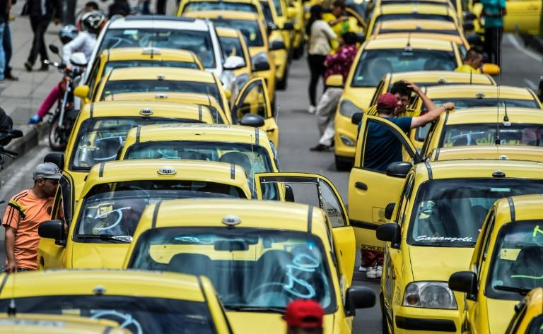Taxi drivers protesting against Uber in Bogota in July 2019